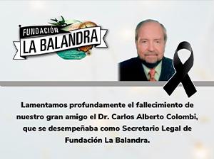 Pesar por el fallecimiento del Dr. Carlos Alberto Colombi